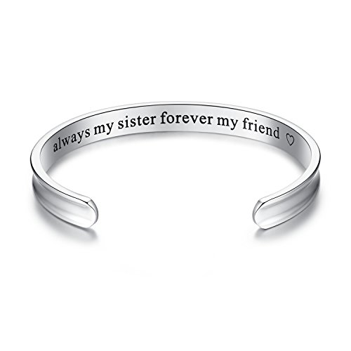 'Always my sister forever my friend' Grooved Cuff Bangle Bracelet, Sister Gift, Jewelry Gifts for women, Sister, Girls, Birthday, Friendship, Thanksgiving, Christmas, Anniversary Day Gift (Silver) (Gift Sister)