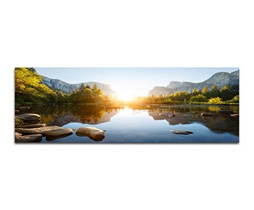 Panoramabild auf Leinwand und Keilrahmen 150x50cm Yosemite Berge Wald Fluss Sonnenaufgang