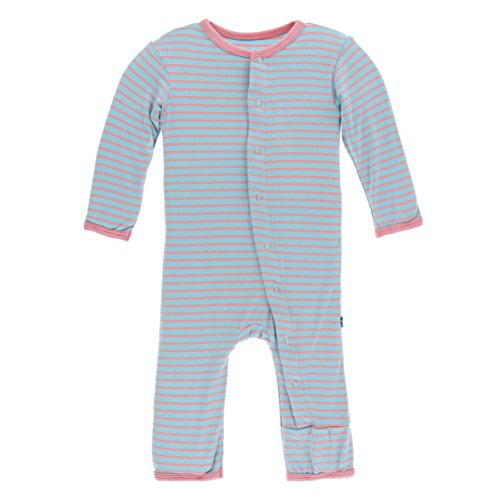 Kickee Pants Little Girls Print Coverall With Snaps - Strawberry Stripe, 6-9 Months - Kicky Pants Girl