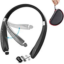 Bluetooth Headset with Carrying Case,Hobest Foldable V4.1 Wireless Bluetooth Headphones,Retractable Sweatproof Neckband Stereo Bluetooth Earphones for Bluetooth Enabled Devices