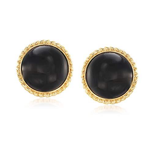 Ross-Simons Black Onyx Circle Earrings in 18kt Gold Over ()