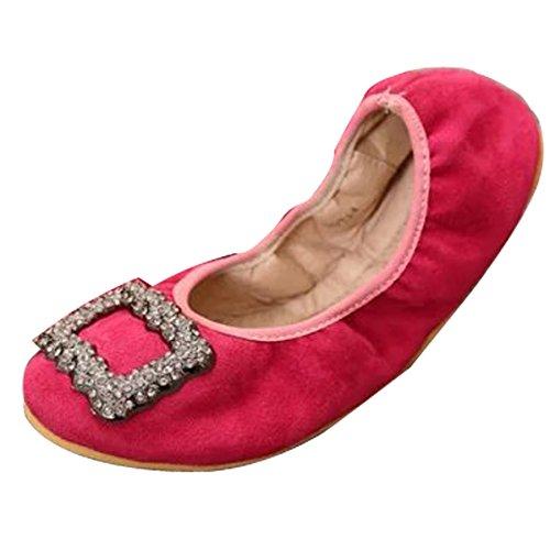 Gaorui Femmes Chaussures De Ballet Appartements Plats Pliables Sexy Doux Mocassins Slip Sur Boucle Carrée Rose