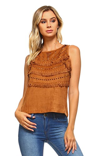 Marcelle Margaux Women's Apache Indian Style Suede Fringe Coachella Tank Top (Large, Camel)