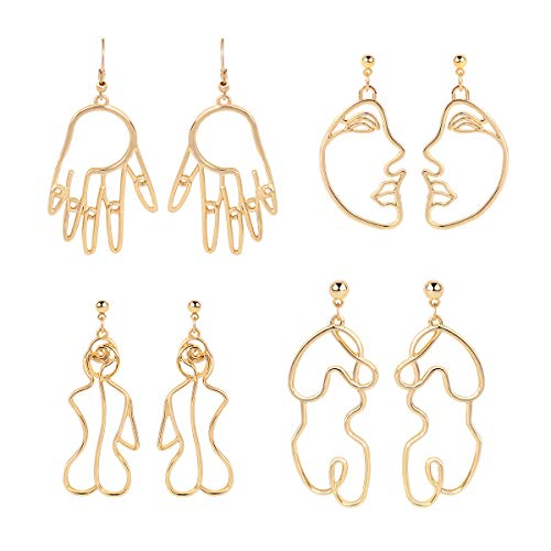 Gold Face Earrings Abstract Design - MOOKOO 4 Pair Hollow Picasso Hand Geometric Statement Earrings for Girls Teens Women