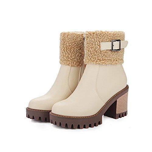 AllhqFashion Womens Solid High Heels Closed Round Toe PU Chains Boots Beige Lcrjzk