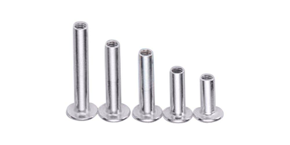 Charles Leonard Aluminum Screw Posts Silver 0.63 Inch Post Length 3704L 100-Pack