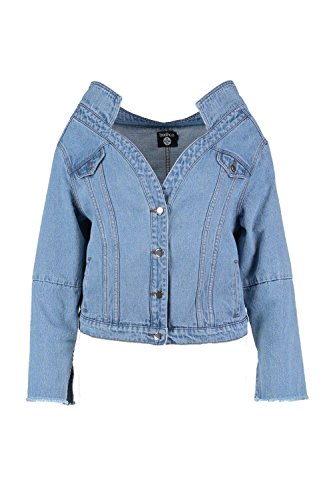 Boohoo Womens Plus Size Bryony Off Shoulder Denim Jacket In Blue Size - 20 Off Boohoo