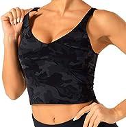 THE GYM PEOPLE Longline Sports Bras for Women Medium Impact Padded Yoga Bra Women's Running Workout Tank