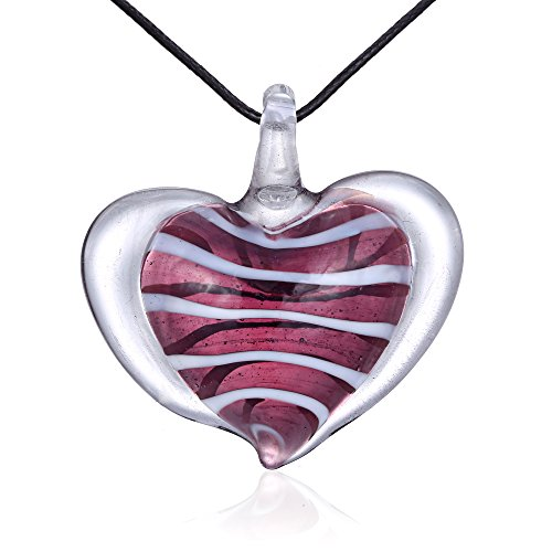 Bleek2Sheek Candy Heart Murano-style Glass Pendant Necklace (Purple Grape)