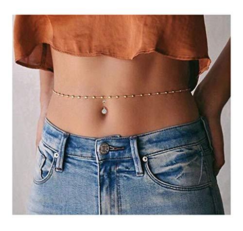 Engravery Minimalist Beach Bikini Belly Chain Stainless Steel Navel Nail Sexy Body Piercing Jewelry for Women
