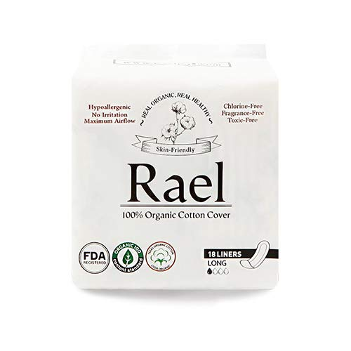 Rael Certified Organic Cotton Panty Liners- Unscented Natural Daily Pantyliners (Long, 2 Pack)
