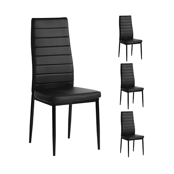 Aingoo Kitchen Chairs Set of 4 Dining Chair with Steel Frame High PU Leather