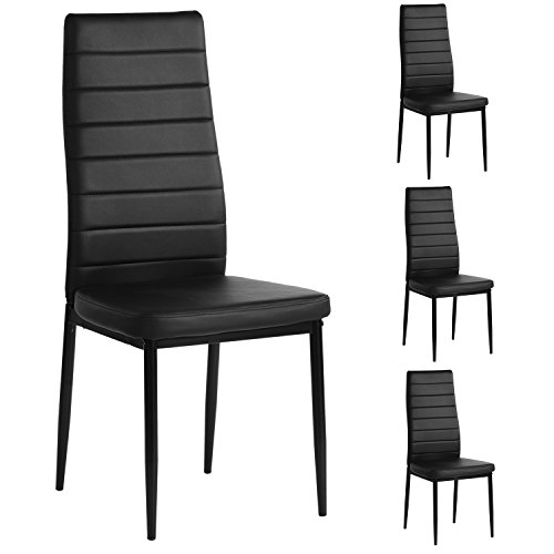 (Aingoo Kitchen Chairs Set of 4 Dining Chair Black with Steel Frame High Back PU Leather)