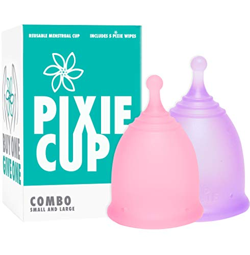 Pixie Cup - Ranked 1 for Most Comfortable Menstrual Cup and Best Removal Stem - Every Cup Purchased One is Given to a Woman in Need! (Combo)