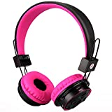 Mokata Kids Foldable Headphones Wireless Bluetooth Headphones for Kids Over Ear Built-in Mic SD Card Slot 3.5mm Audio Jack Cable for PC Tablet Iphone Ipod Cellphone B015 Pink