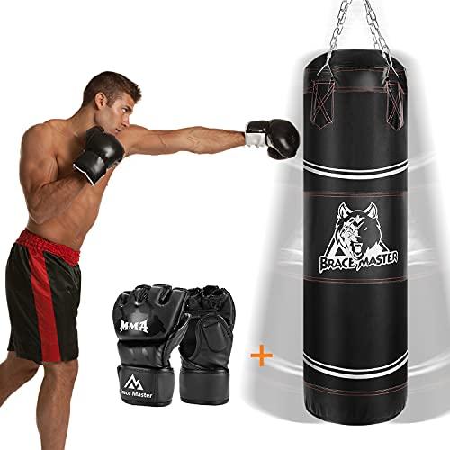 Brace Master MMA Gloves UFC Gloves Boxing Gloves for Men Women Leather More Padding Fingerless Punching Bag Gloves…