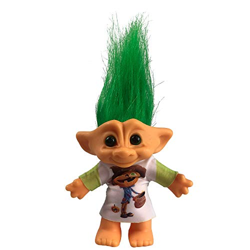 """Yintlilocn Lucky Troll Dolls,Vintage Troll Dolls Chromatic Adorable for Collections, School Project, Arts and Crafts, Party Favors - 7.5"""" Tall Green Hairs (Include The Length of Hair)"""