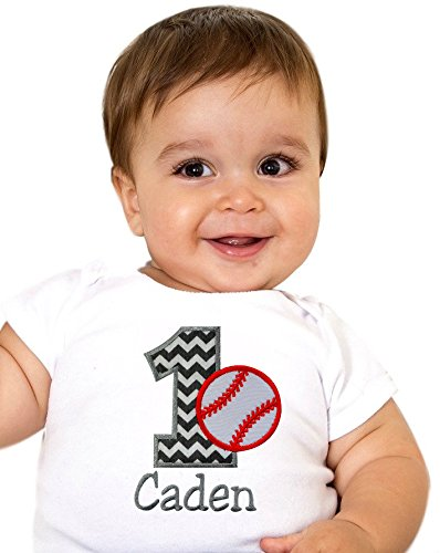 Funny Girl Designs Embroidered Personalized Birthday Baseball Year 1 Onesie Bodysuit For...