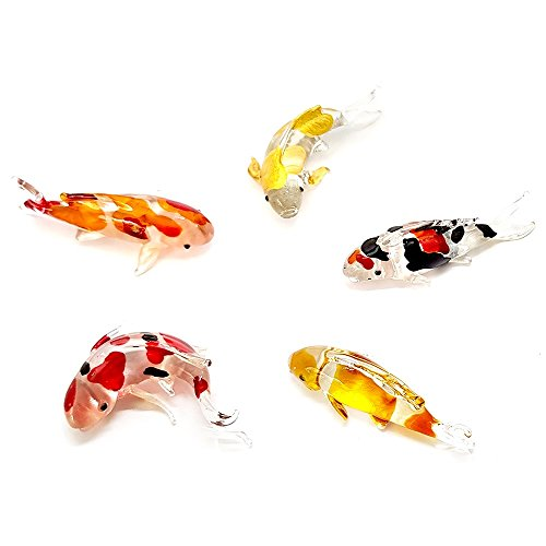 - Set 5 Handmade Carp Fish Koi Fish Family Art Glass Blown Glass Fish Aquatic Figurine Animal Miniature - Model Y2018