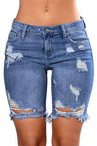 FEESON Women's Summer Stretch Distressed Ripped Repaired Raw Hem Jeans Shorts Blue