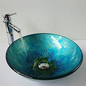 GD Multicolour Round Tempered Glass Vessel Sink with Bamboo Faucet ,Pop - Up Drain and Mounting Ring