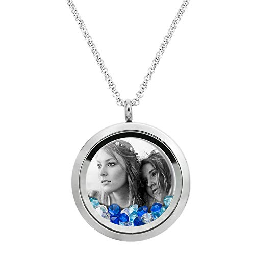Dreambell Stainless Steel Personalized Laser Engraved Photo Message Text Custom 30mm Round Floating Glass Locket Crystal Pendant Chain Necklace Love Living Memory Gift