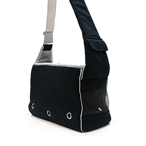 Messenger Pet Carrier - Dogo Boxy Messenger Bag - Black