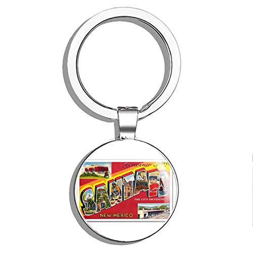 1080 Graphics Souvenir of Santa Fe Vintage Postcard Design Metal Round Metal Key Chain Keychain Ring