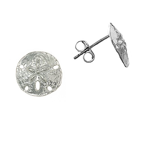 925 Sterling Silver Nautical Small Sand Dollar Post Earrings