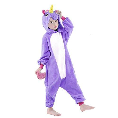 Tutina Flanella Pajama Unicorno Animale Purple Unicorn Tuta Costume per Onepiece Intero Landove Compleanno Carnevale Regalo Romper Halloween Sleepwear Cosplay Kigurumi di Jumpsuit Natale Party Pigiama Bambina Swtcq8WWPX