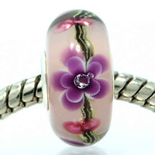 Pro Jewelry .925 Sterling Silver Glass ''Purple Flowers w/ Crystals Inside Smooth Glass'' Charm Bead for Snake Chain Charm Bracelets 5101
