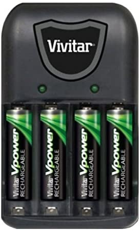 Amazon Com Vivitar Aa Aaa Vpower Compact Battery Charger With 4 900mah Aaa Batteries Computers Accessories