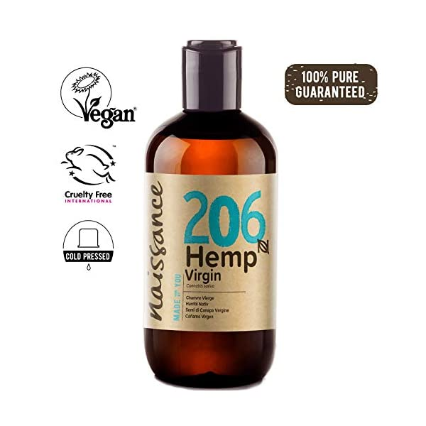 Naissance Cold Pressed Virgin Hemp Seed Oil (no. 206) 250ml – Pure & Natural, Cold Pressed, Vegan and Unrefined – Rich in Essential Fatty acids and Vitamin E