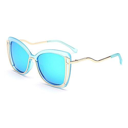 Protección sol Gafas ojos que UV mujeres señora coloreada al lente para Rosado la de de Azul Grande gato aire Chicas De que La de Azul De Sol los las libre de conducen Gafas Mujeres viajan Las Demasiado zwPqOx