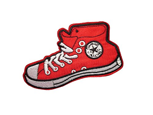 RED SNEAKER SHOE Iron On Patch Applique High Top Footwear Motif Children Decal 4.5 x 2.6 inches (11.3 6.5 cm)