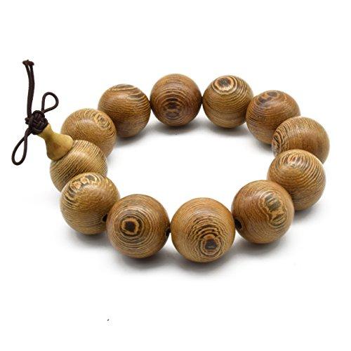 Zen Dear Unisex Natural Wenge Wood Mala Prayer Beads Necklace Bracelet Meditation Buddhist Rosary Mala Beads (20mm 12 Beads)