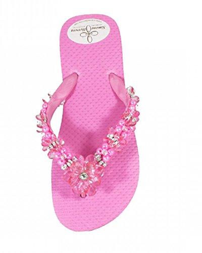 Designer Luxus Flip Flops-Chanclas Exclusivas by Simone Herrera-Flora Line-Lena-Riemchen Sandale Zehentrenner Fuchsia/Rosa