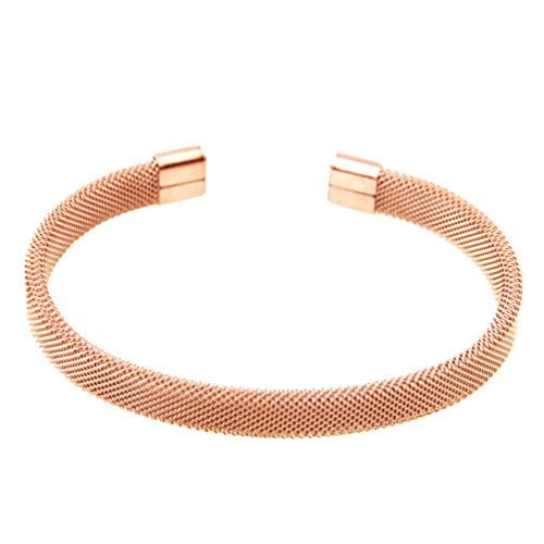 FANS JEWELRY 8mm Mens Womens Unisex Modern Stainless Steel Mesh Cuff bangle Bracelet(Rose Gold) - Mesh Rose Bracelet