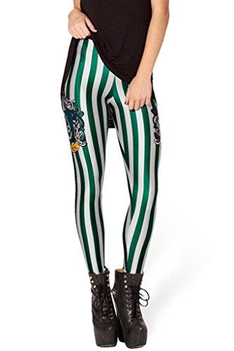 Green Striped Leggings (RedExtend Womens Fashion Digital Print Striped Legs Tight Stretch Leggings Tights, Green Stripe 1, One Size)