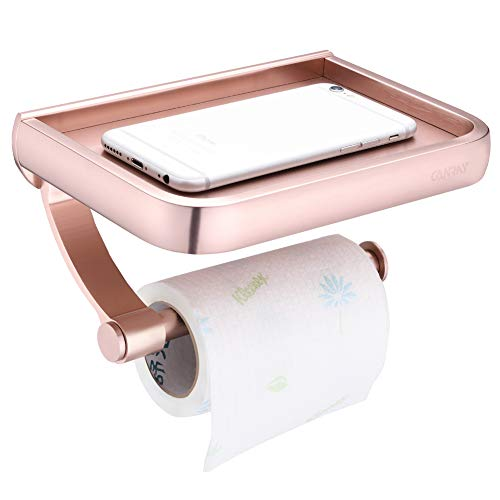 - CANRAY Toilet Paper Holder with Shelf, Bathroom Tissue Paper Roll Holder with Mobile Phone Storage Shelf - Aluminum - Rose Gold