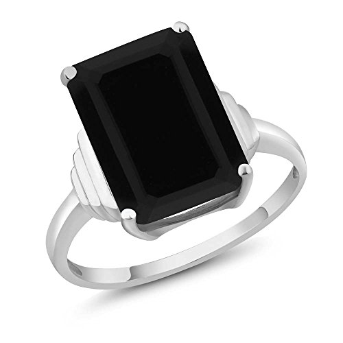 (Gem Stone King Sterling Silver Black Onyx Women's Ring 5.00 cttw Emerald Cut Center Onyx:14X10MM (Available 5,6,7,8,9) (Size 9) )
