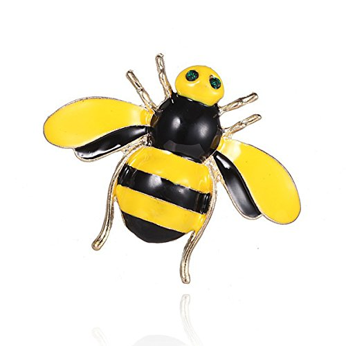 Woogge Women's Fashion Natural Insect Animal Lovely Alloy Rhinestone Yellow Enamel Bumble Bee Brooch Pins ...
