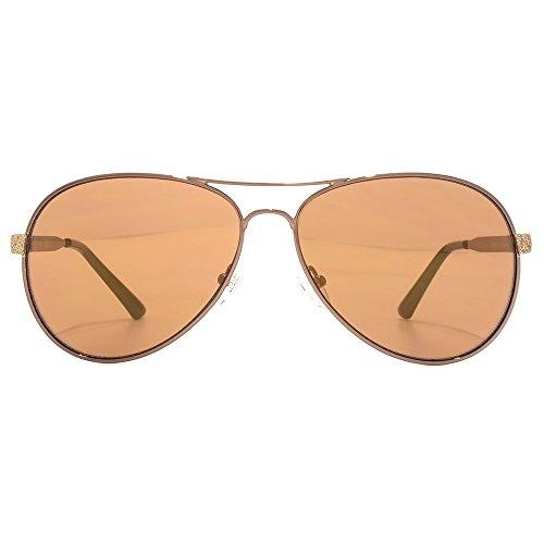 Guess Diamante paillettes temple pilote lunettes de soleil en brun foncé  brillant GU7501 48F 58 Shiny ... 3302a561fd32