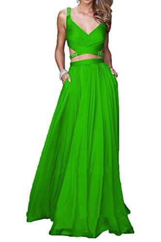 Promworld Women's Zwei St¨¹ck Chiffon Lange Abendkleider Mit Gefrieste Green ZMaGPK7u3