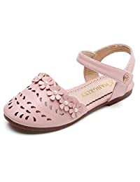 Bumud Girls' Leather Closed-Toe Solid Flower Outdoor Cutout Casual Sandals(Toddler/Little Kid)