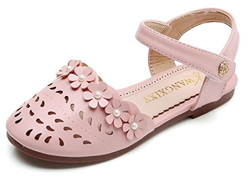 Bumud Girls' Leather Closed-Toe Solid Flower Outdoor Cutout Casual Sandals(Toddler/Little Kid) (13 M US Little Kid, Pink) Girls Pink Flower Sandals