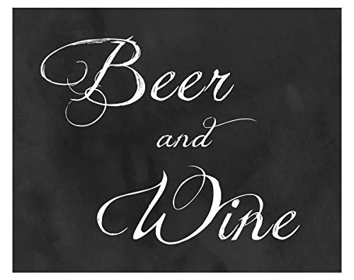 2 City Geese Beer and Wine Wedding Sign | Chalkboard Look Reception Bar Signs On Thick Cardstock Paper | Party or Wedding Reception Signs -