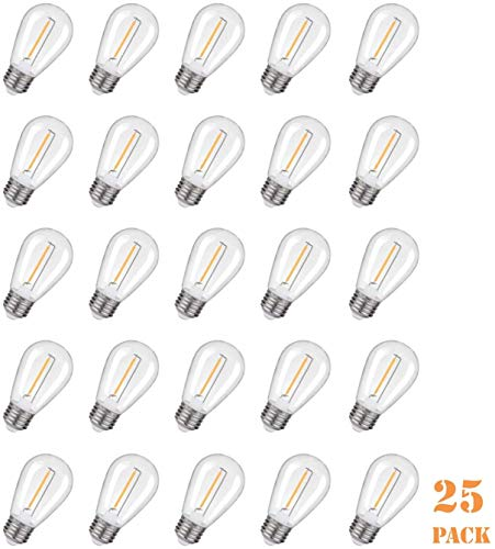 EMITTING Shatterproof & Waterproof S14 Replacement LED Light Bulbs –1W Equivalent to 10W, White Warm 2200K Outdoor String Lights Vintage LED Filament Bulb, E26 Base Edison LED Light Bulbs (S14-25PACK)