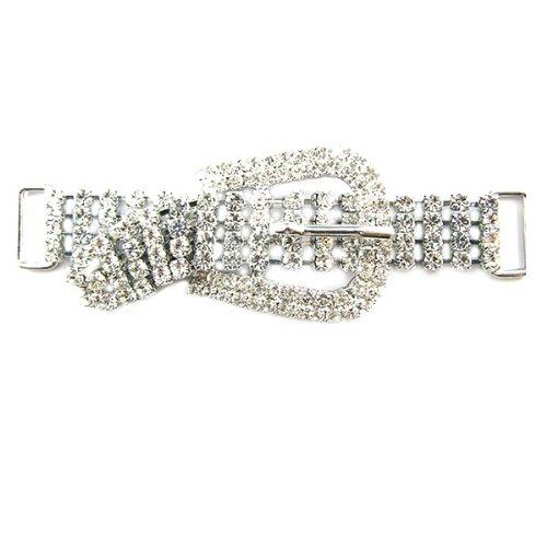 Mode Beads Imitation Rhodium Plated Rhinestone Shoe be Light Buckle, 3.5-Inch, (Imitation Rhodium Plated)