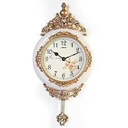 3starimex Fabulous Antique Linseng Wooden Pendulum Ivory Wall Clock ( 24x15)